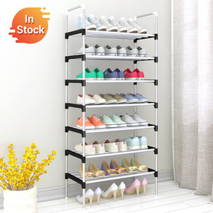 Easy Assemble Shoe Rack Sneakers Stand Boots Rack Portable Space-saving Home Dorm Stand Holder Metal Shoe Shelf with Handrail 201102