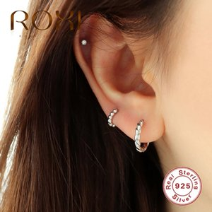 ROXI Simple Round Head 925 Sterling Silver Earing Cartilage Gold Silver Round Hoop Earrings for Women Girl Fashion Party Jewelry