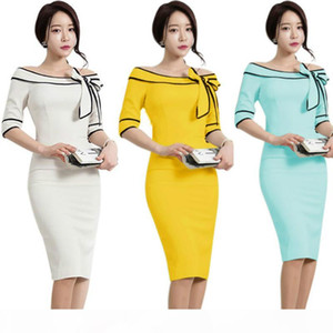 Women Boat Slash Neck Off Shoulder Flared Bowknot Elegant Rockabilly Cocktail Party Bodycon Pencil Causual Work Dress Business Sheath Dress