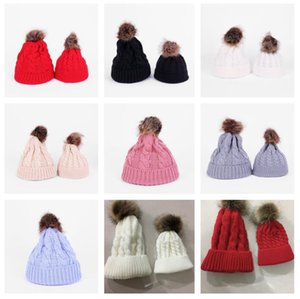 Paprent-child Twist Pom Pom Beanies Crochet Winter Hat Women Kids Children Cuffed Skull Caps Knitted Tuque Ski Slouchy Headwear OWA2555