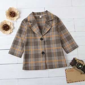 Small Girl's Coat Lapel Plaid Children Blazer Clothes Tops Spring Autumn Fashion Casual Kids Coat