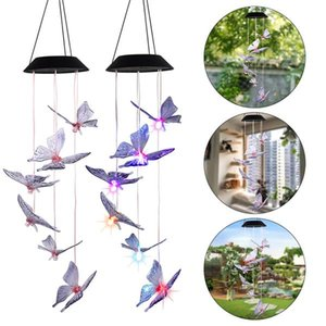 Solar Intelligent Light Control Design and Color Shell Butterfly Wind Chime Corridor Decoration Pendant Solar Panel Colorful
