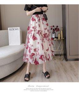 2021 Pink New Summer Streetwear Elastic waist 3D Butterfly embroidery flowers gauze skirt sexy Elegant Lady Midi Skirts