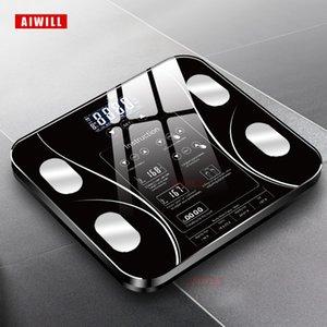 Aiwill Весы ванной комнаты Светодиодный экран смазки электронного веса Состав корпуса Анализ здоровья Масштаб Smart Home Q1201