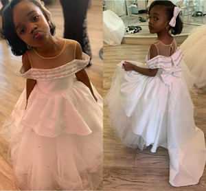 White Satin Silver Beaded Girls Graduation Pageant Dresses Cold Shoulder Big Bow Ruffle Princess Flower Girl Dress First Communion Dress
