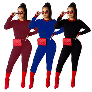 Womens clothing long sleeve outfits 2 piece set fashion fitness female tracksuit jogging sport suit sweatshirt tight sport suit klw0394