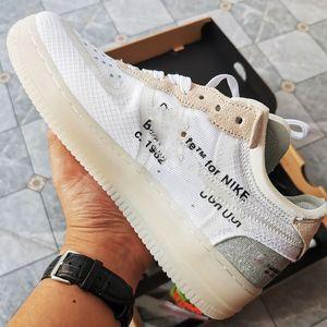 OFF-WHITE x Nike Air Force 1 LOW 2020 Novo Qiu Homens Barrage Mid Qs Crianças Basquetebol Sapatos Preto Branco Hypergrama Pippen Sneakers Treinadores Esportivos Zapatos