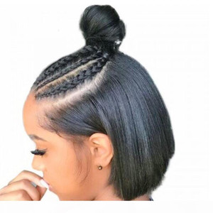 Bob Lace Front Human Hair Wigs With Baby Hair Pre Plucked Brazilian Remy Hair Full End Straight Short Bob Wig For Black Women