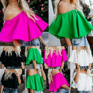 Fashion Summer Sexy Women Blouse Ruffles Off Shoulder Blouse Solid Ruffle Tee Casual Shirt Tops Summer Shirt S XL