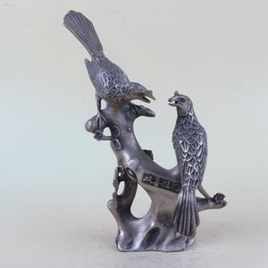 Chino antiguo blanco cobre doble pájaro árbol rama estatua qian largo w Mark BT054