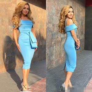 2020 Modern Blue Short Cheap Cocktail Dresses Off Shoulder Plus Size Tea Length Cheap Simple Arabic Formal Evening Party Homecoming Gow