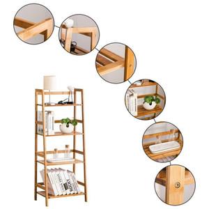Nuevo librero de bambú de 4 niveles estantería de estantería de pared de estantería de estantería