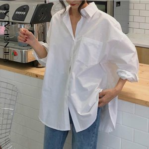 SHENGPALAE 2020 Spring Vintage White Women Shirt Female Tops Long Sleeve Casual Turn down Collar Womens Loose Blouses ZA2899