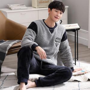 Winter Men's Pajamas Suit Flannel Sleepwear Fashion Letter O-Neck Pyjamas Thick Warm Mens Lounge Wear Korean Homewear Nightwear