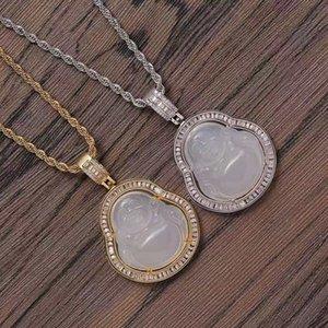 OUT OUT OUT Maitreya Buddha Diamonds Кулон Ожерелья для мужчин Женщины Буддизм Религия Хип-хоп Роскошные Ожерелье Настоящий Золотой Подарок Ювелирных Изделий