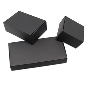 30Pcs Black Cardboard Paper Boxes Blank Kraft Paper Carton Box Foldable DIY Soap Jewelry Party Small Gifts Package Box 18 Sizes