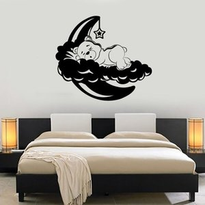 Wall Vinyl Decal Teddy Bear Sleeping Cloud Moon Stars Kids Bedroom Nursery Baby Room Interior Decoration Lovely Sticker 1845