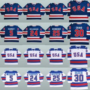 1980 Milagro en Hockey sobre hielo Jerseys 5 Mike Ramsey 9 Neal Broten 25 Buzz Schneider 100% Equipo cosido EEUU EEUU HOCKEY JERSEY