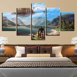 5 Pieces Wall Art Scenery Painting on Canvas Painting Stretched and Framed Canvas Paintings Ready to Hang for Home Decorations Wall Decor