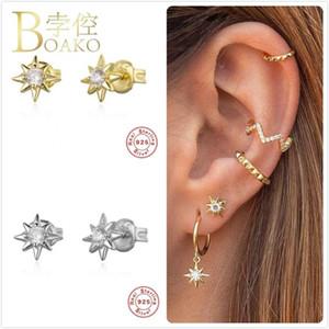 Saplama Gerçek 925 Gümüş Küpe Kadınlar Için Altın Yıldız Kız Kulak Kemik Piercing Küpe Kadın Güneş Zirkon ARETES Z5