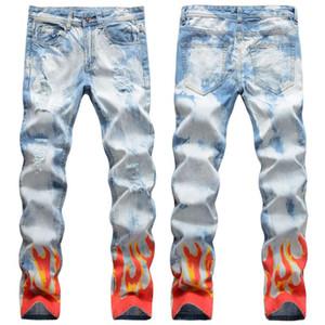Yeni Erkek Erkek Pantolon Sokak Işık Renkli Delikler Alev Dijital Graffiti Baskı Jeans Hip-Hop İnce Düz Kot Kot Pantolon