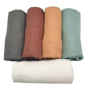 Bambu Muslin Swaddle Cobertor Recém-nascido Fralda Acessórios Soft Swaddle Envoltório Baby Bedding Bath Towel Cor Sólida de Lashghg Y201001