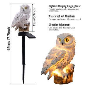 Owl Solar Landscape Light Waterproof White For Garden Square Outdoor Lighting Fixture Energy Saving Led Lamp