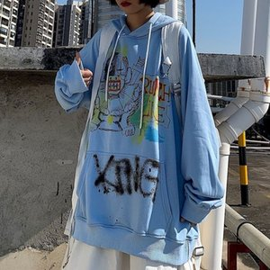 sweet sweatshirt women hoodies female Korean tops ins Harajuku bf wind graffiti cartoon print loose plus velvet student jacket 201031