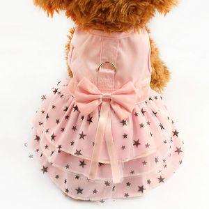 Fashion Pet Vêtements Noir Star Modèle Summer Dog Dress Chiens Princesse Robes De Pierre Rose Jupe Vêtements Fournitures de vêtements