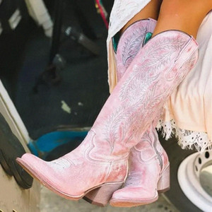 Mulheres moda botas primavera sapatos de salto baixo legal legal design bordado britânico macio festa curto joelho alto rosa # v65d