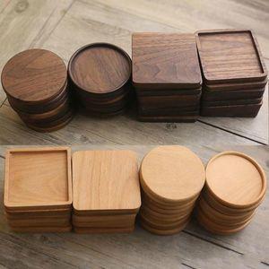 Burlywood wooden wooden wooden black walnut café chá tapetes de madeira tapete tapete toca tigela bule bule bebida coasters casa bar ferramentas