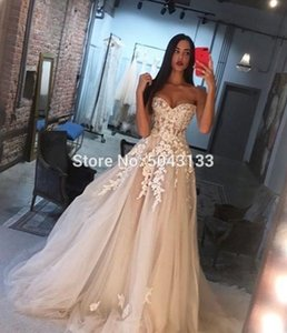 Charming Champagne Wedding Dresses with Ivory Appliques A Line Sweetheart Off the Shoulder Lace Corset Back Wedding Brides Gowns 201114