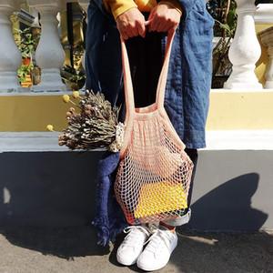 Grocery Bag Reusable Shopper Tote Fishing Net Large Size Mesh Net Woven Cotton Bags Portable Shopping Bags Home Storage Bag DDC3595