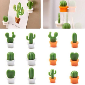 Cactus Fridge Magnets Cute Succulent Plant Magnet Button Cactus Refrigerator Message Sticker Magnet 6Pcs Set OWC4019
