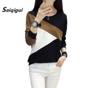 Saiqigui Moda otoño mujeres coreanas camiseta casual femenino suelto camiseta de manga larga camiseta patchwork sudadera tops más tamaño y200111