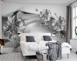 Luxury 3d Wallpaper Black and White Abstract Ink Smoke 3d Flower Romantic Flora Decorative Silk 3d Mural Wallpaper