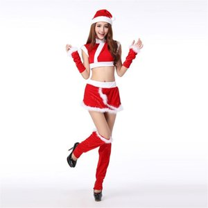 new velvet Adult party perform Hats Vest The Mini Skirt Suit mascot sexy christmas costume mascot mascotte anime1