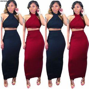 JH 2021 New Women Outfit Knitted Sleeveless Crop Top Bodycon Maxi Midi Skirts Suit 2pcs Set Sexy Long Dress Pencil Tracksuit