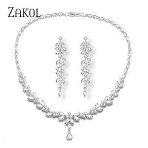 ZAKOL Zircons Brand New Fashion CZ Zirconia Long Leaf Shape Earrings Necklace Sets for Womens Party Accessories Jewelry F1202