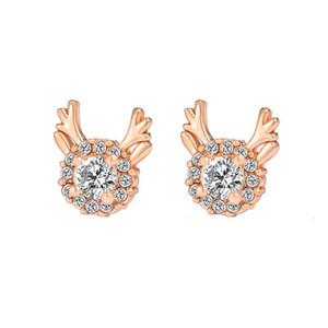 European Elk Design Stud Earrings For Christmas Gift Copper Diamond Ear Drop Women Christmas Decoration Earring Jewelry