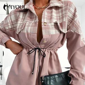 Miyouj Pink Color Plaid Coat Bandage Slim Outerwear Casual Loose Woman'S Clothes 2020 Patchwork Women Coats Suits