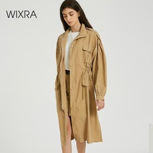Wixra Women Spring Autumn New Solid Trench Coat long Outerwear loose clothes for lady with belt Casual Outerwear