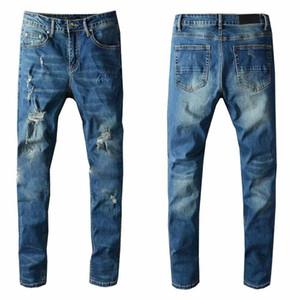 Mens Jeans Classic Hip Hop Pants Stylist Jeans Distressed Ripped Biker Jean Slim Fit Motorcycle Denim Jeans 1UNP