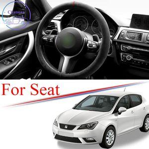 Alcantara Car Steering Wheel Cover Suede Trim Strip for SEAT LEON ARONA TARRACO ALTEA IBIZA Universal 38cm 15 Inches Interior Accessories