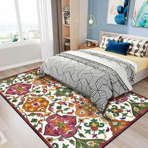 American Country Llush Alfombra Flor Blanco Amarillo Verde Verde Sala de estar Alfombra Alfombra grande Personalizar Cuarto de baño Mat