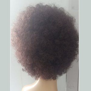 Explosive hair wig set African microwave short curly fluffy real human hair universal Human hair for men and women