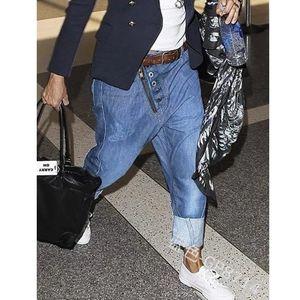 Wepbel jeans calças homens jean solto comprimento total bolsos harem denim casual moda homens longos calças