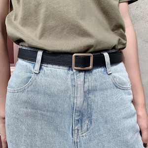 109CM Women Leather Belt Fashion latest needle-free metal round buckle belt jeans wild the women for