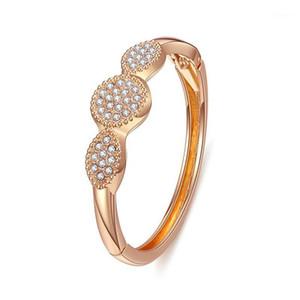 2020 Gold Circles Crystal Bracelet & Bangles for Woman Rhinestones Round Female Bracelets1