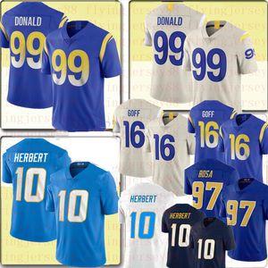 Nouveau 99 Aaron Donald 16 Jared Goff Jersey 10 Justin Herbert 97 Joey Bosa Jersey Football